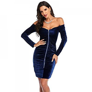 6.0% off Atnlewhi Womens Off Shoulder Long Sleeve Zip Front Ruched Stretchy Velvet Bodycon Cocktai..