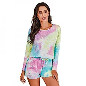 Banamic Women's Tie Dye Printed Pajama Set Sleepwear Nightwear Top and Shorts Pjs Set now 50.0% off