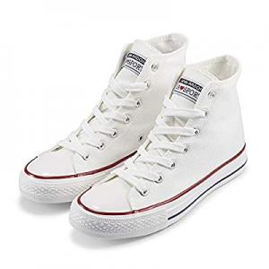 JENN ARDOR Women's Fashion Sneakers Canvas Shoes High Top Lace-up Classic Casual Flat Walking Shoe..