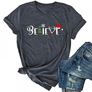 One Day Only!KIDDAD Believe Christmas T-Shirt Women Casual Short Sleeve Funny Letter Print Tee Top..