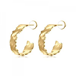 One Day Only!MONOZO Gold Hoop Earrings for Women now 50.0% off , 925 Sterling Silver Post Hypoalle..