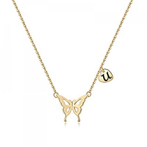 One Day Only!Iefil Initial Butterfly Necklace for Women now 50.0% off , 14k Gold Filled Letter Ini..