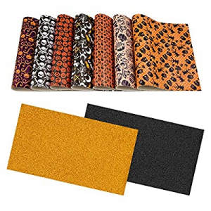 9 Set Halloween Faux Leather Sheets now 50.0% off , Glitter Orange, Black and Halloween Printed Sy..