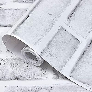 50.0% off Peel and Stick Wallpaper Brick Wallpaper Self-Adhesive (White Gray)Decorate Wall Christm..