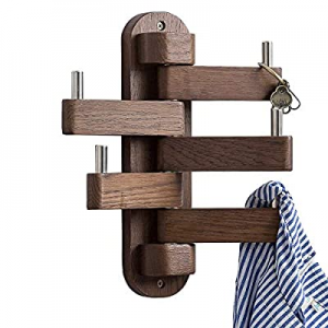 One Day Only!INMAN Coat Hooks for Wall now 55.0% off , Walnut Wood Wall Hooks with 5 Swivel Foldab..