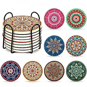 LuenHego Coasters for Drinks Absorbent with Holder now 20.0% off , 4 Inches Mandala Ceramics Coast..