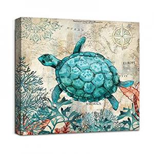 50.0% off Beach Coastal Bathroom Wall Art Decor Canvas Print Sea Turtle Picture Framed Artwork Rea..