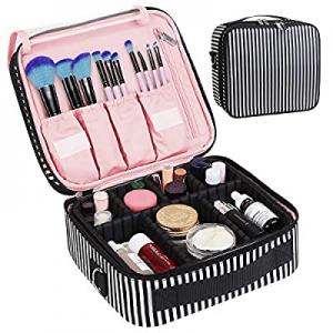 CREATIVE DESIGN Large Makeup Bag now 30.0% off , 3 Layers Travel Makeup Organizer Cosmetic Bag Por..