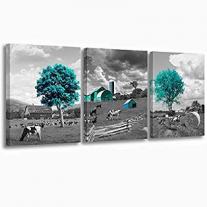 50.0% off Black and White Cow Farmhouse Canvas Wall Art Teal Barn Trees Country Wall Decor for Bed..