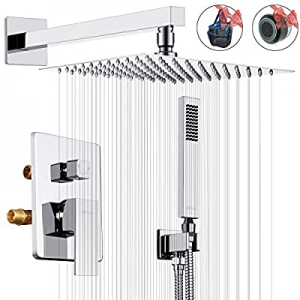 15.0% off ROVESSA 10 Inches Rain Shower System Bathroom Luxury Mixer Shower Combo Set Wall Mounted..