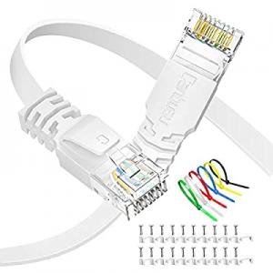 Cat6 Ethernet Cable 50 ft Flat now 50.0% off , Canbuau Internet Network LAN RJ45 Gigabit White Pat..