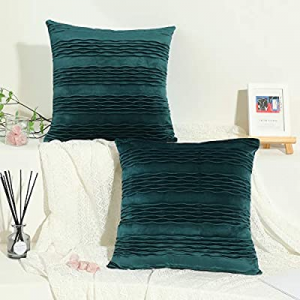 Dulce Dom Silky Soft Velvet Dark Green Throw Pillow Covers with Chic Wave Pattern now 40.0% off , ..