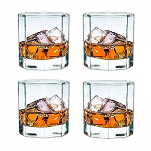Whiskey Glass 10 Oz Set Of 4 - Old Fashioned Cocktail Glass For Scotch,Bourbon Or Tea Beverage now..