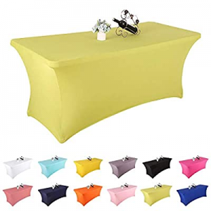 One Day Only!Yetomey Rectangular Fitted Spandex Tablecloths Stretchable Patio Table Covers for Bir..