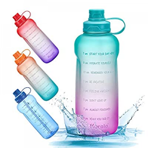 Half Gallon/64 oz Motivational Water Bottle with Time Marker Reminder & Straw now 50.0% off , Leak..