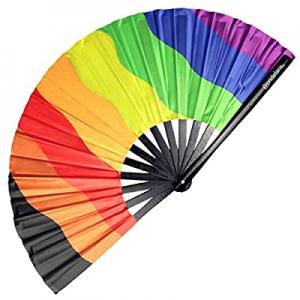 55.0% off Pride Fans Inclusive Rainbow Hand Fan Loud Clack Drag Queen Folding Fan Large Pride Fest..