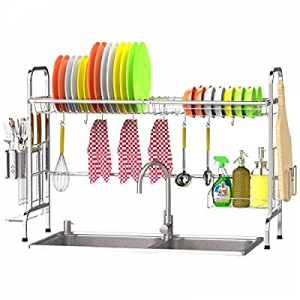 Over the Sink Dish Drying Rack now 30.0% off , Veckle Premium Stainless Steel Dish Rack for Kitche..