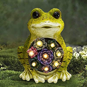 One Day Only!ALLADINBOX Garden Statue Frog Figurine 8 x 6.5 inch - Resin Statue with Solar LED Lig..