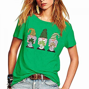 Womens St. Patrick's Day T-Shirt Cute Shamrock Gnomies Graphic Casual Short Sleeve Tops now 60.0% ..