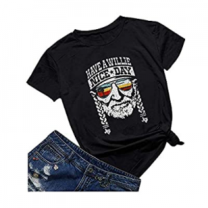 Qrupoad Womens Have a Nice Day T-Shirt Short Sleeve Country Music Shirt Graphic Tees now 50.0% off