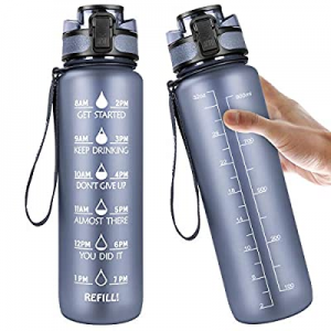 Manords 32oz Motivational Fitness Sports Water Bottle with Time Marker now 65.0% off , Non-Toxic L..