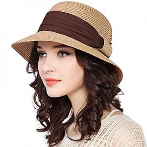 Lanzom Women Wide Brim Straw Foldable Roll up Cap Fedora Beach Sun Hat UPF50+ now 40.0% off