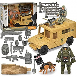 US Army Men Action Figure Playset now 55.0% off , Explosive Specialists 15 Piece Set, Military Veh..