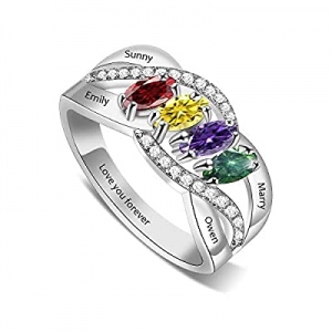 50.0% off BAUMA AUTO Mothers Ring Personalized Mothers Rings with 1/2/3/4/5/6/7/8 Simulated Births..