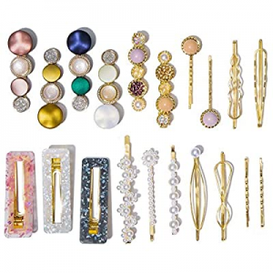 One Day Only!53.0% off 20 Pcs Macaron Hair Clips for Women Acrylic Pearl Hair Clip Handmade Pearl ..