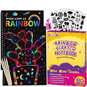 One Day Only!40.0% off pigipigi Rainbow Scratch Paper for Kids - 2 Pack Scratch Off Notebooks Arts..