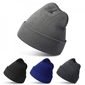 One Day Only!60.0% off RUN BRAIN GO 4 Pack Beanies Winter Hats Warm Knitted Cap for Men & Women (B..