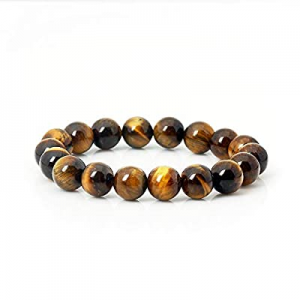 ASGIFT Tiger Eye Bracelet Energy Stone Stretch Bracelet for Men Women Boys Girls now 70.0% off