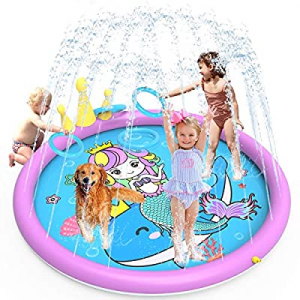 GiftInTheBox Splash Pad  now 35.0% off ,68 Inch Sprinkler Splash Pad Toys for Dogs and Kids, Infla..