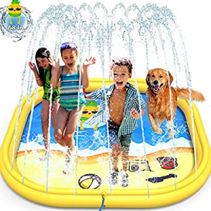 GiftInTheBox Splash Pad  now 15.0% off ,68 Inch Sprinkler Splash Pad Toys for Dogs and Kids, Infla..