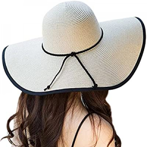 Lanzom Womens 5.5 Inches Wide Brim Straw Hat Floppy Foldable Roll up Cap Beach Sun Hat UPF 50+ now..