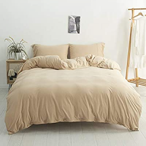 DONEUS Jersey Knit Cotton Duvet Cover Set Twin Size now 72.0% off , 3 Pieces Solid Pattern Bedding..