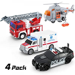 KeepRunning 4 Pack Friction Powered City Hero Play Set Including Fire Engine Truck now 40.0% off ,..