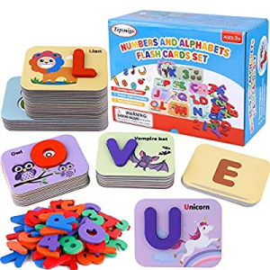 One Day Only!70.0% off TEPSMIGO Alphabet Flash Cards Games with Wooden Number ABC Letters for Todd..