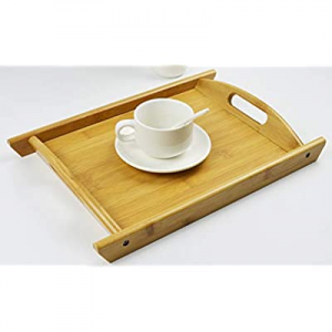 One Day Only!Bamboo Decorative Tray Coffee Tea Tray Breakfast Bed Tray Butler's Serving Tray with ..