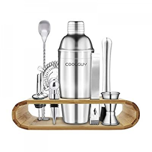 One Day Only!COOLGUY Bartender Kit with Stand now 50.0% off , 14-Piece Bar Set Cocktail Shaker Set..