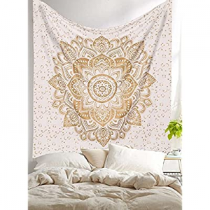 80.0% off AUNERCART New Launched Twin White Gold Ombre Mandala Tapestry Boho Wall Hanging Gypsy Ta..