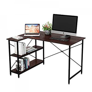 Bestier Small L-Shaped Desk with Storage Shelves 47 Inch Corner Desk with Shelves Writing Desk Tab..