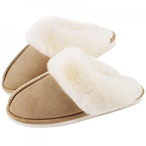 40.0% off Womens Slippers Cozy Comfy Faux Fur Slip-on Women House Shoes Memory Foam Suede Fluffy C..