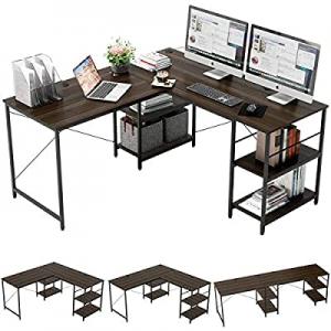 Bestier L Shaped Desk with Shelves 95.2 Inch Reversible Corner Computer Desk or 2 Person Long Tabl..