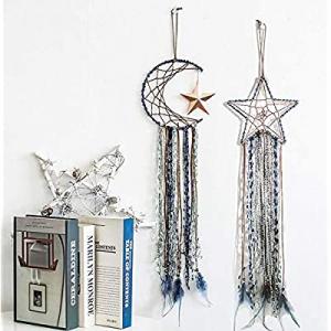 50.0% off SY.Doot 2 Pieces Blue Dream Catcher Handmade Moon Star Feather Dream Catcher Half Circle..