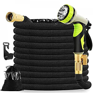5.0% off Mahoon Expandable Garden Hose 100ft - Water hose with 9 Function Spray Nozzle - 3/4'' Sol..