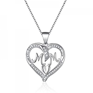 70.0% off VANLAMS Mother Birthday Jewelry Gifts 925 Sterling Silver Love Heart Pendant Necklace fo..