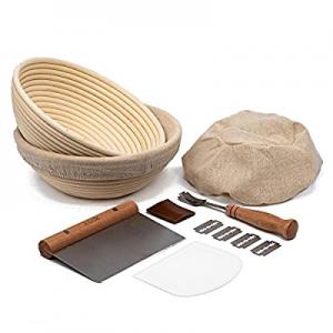 Proofing Set now 45.0% off , by Kook, Sourdough Bread, 2 Rattan Banneton Baskets, 2 Basket Covers,..