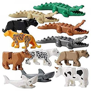 FlyCloud Animals Figures Toys now 50.0% off , 12 Piece Crocodile Tiger Cow Shark Ornaments Model A..
