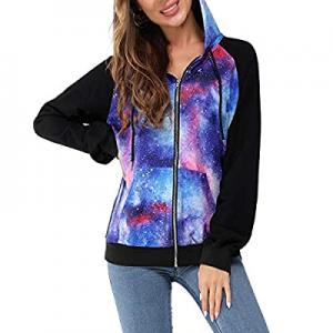 Newshows Women's Casual Long Sleeve Hoodie Color Block Zip-Up Sweatshirt Jacket Coat now 70.0% off